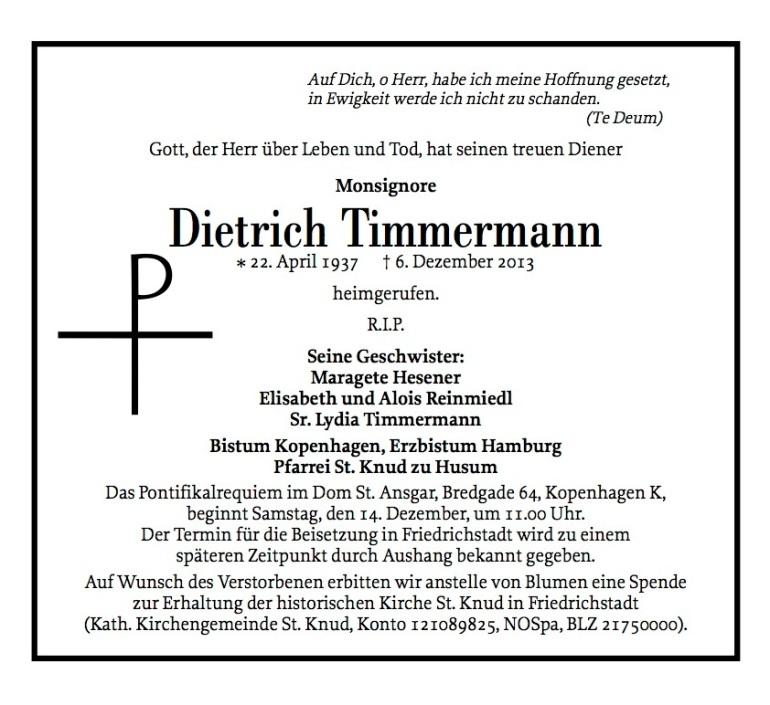 Todesanzeige  für Msgr. Dietrich Timmermann†, Husumer Nachrichten, 12.12.1213